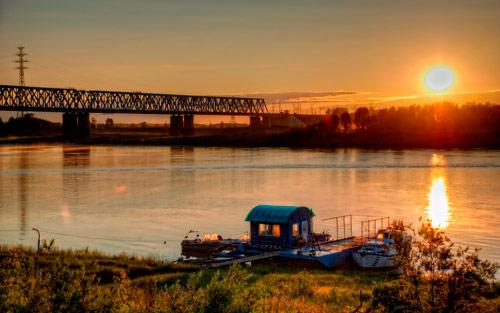 обои лето река закат