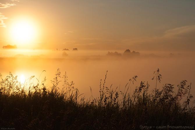 восход на реке в тумане