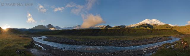 Рассвет в долине Кызылкол, ок. 2700 м, Северное Приэльбрусье
