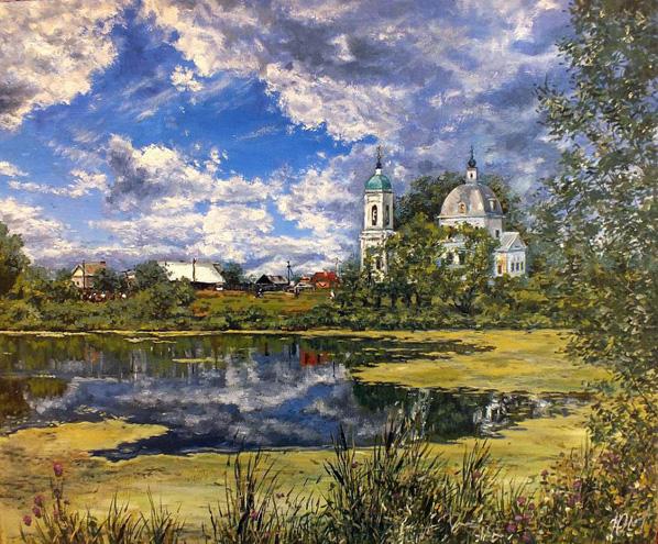 Пейзаж маслом, художник Юлия Амаги