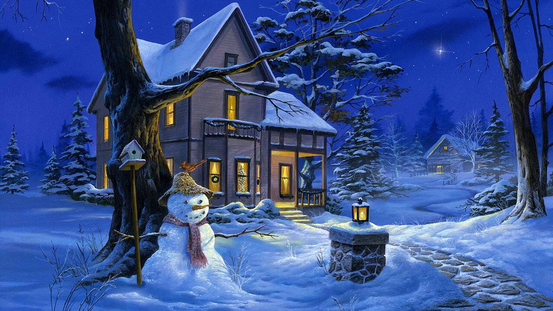 Зима рисунки у дома в городе 2