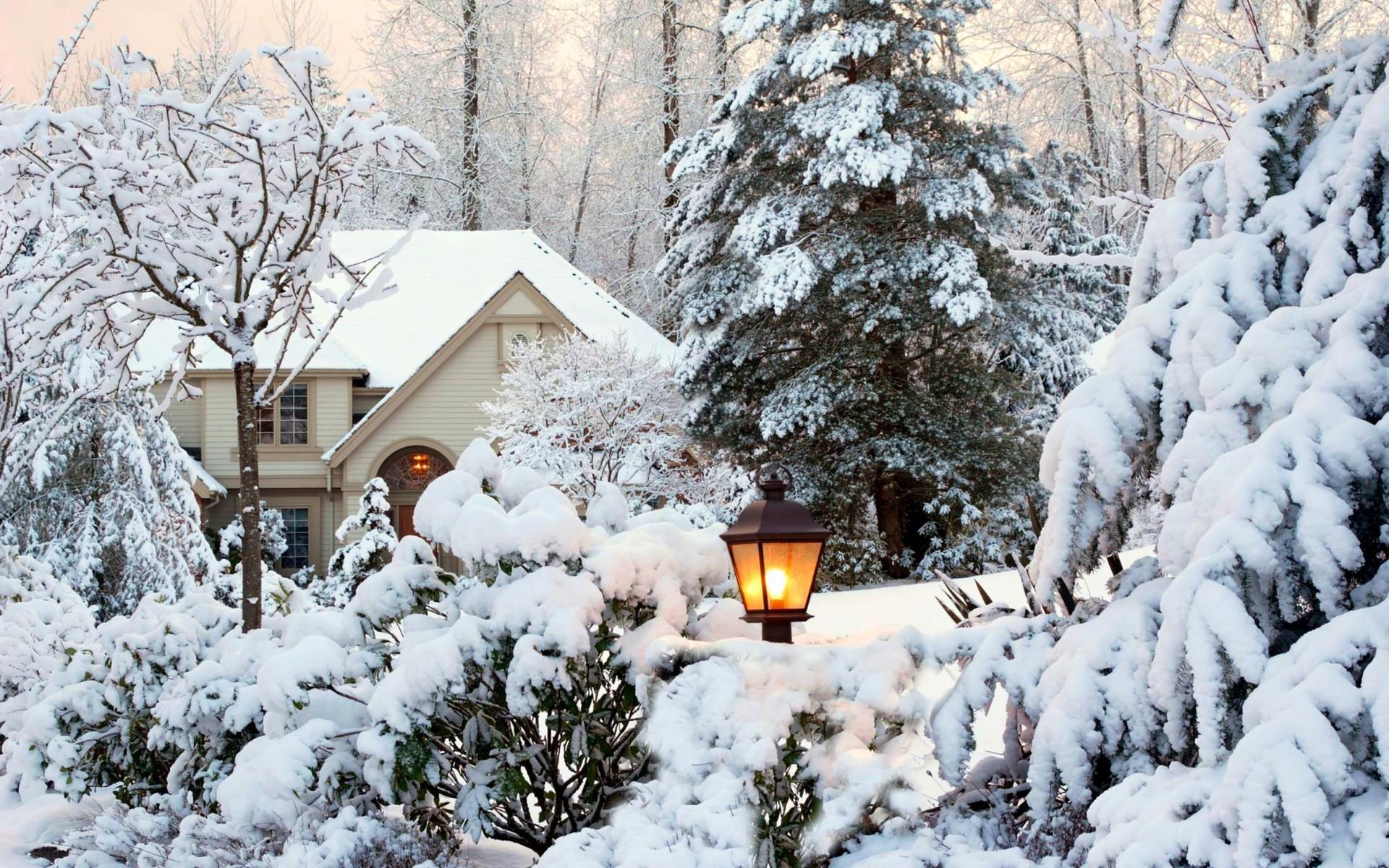 красивые обои зима в городе на рабочий стол