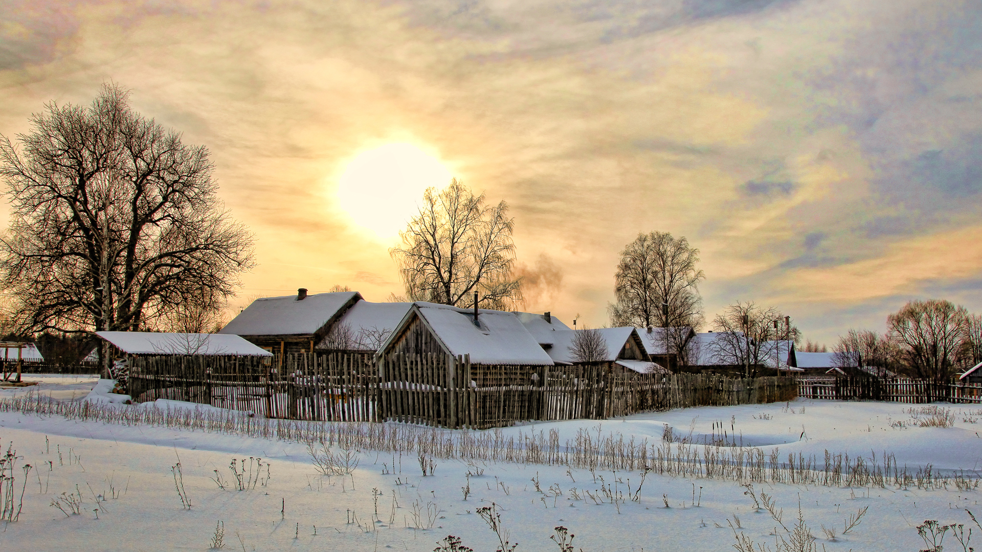 деревня зимой