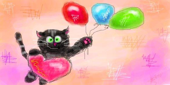 На воздушных шарах с сердечком в руке