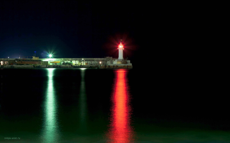 Ялта маяк ночью, hd обои